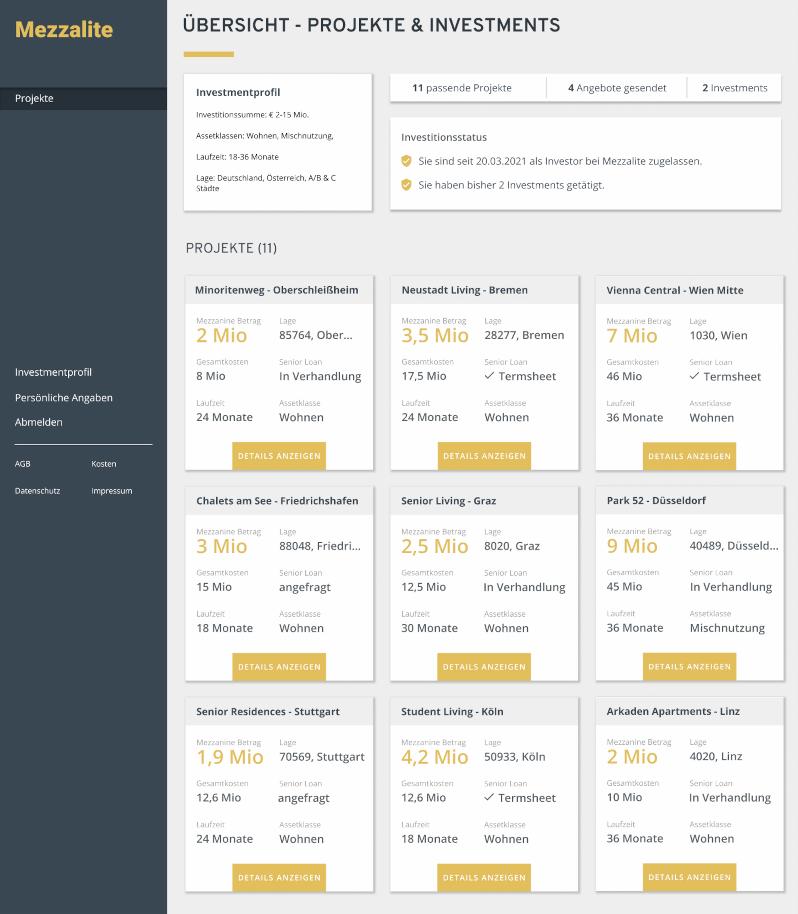 Mezzalite Dashboard Preview Investoren